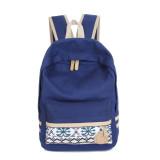Spesifikasi Wanita Canvas Shoulder Tas Sekolah Bookbag Backpack Travel Rucksack Tas Tangan Biru Tua Yang Bagus