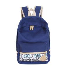 Jual Beli Wanita Canvas Shoulder Tas Sekolah Bookbag Backpack Travel Rucksack Tas Tangan Biru Tua