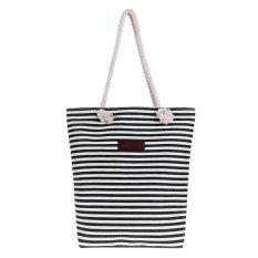 Women Canvas Stripe Tas Tali Shopping Shoulder Bag (Hitam)-Intl
