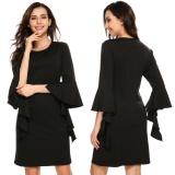 Spesifikasi 3 4 Kasual Untuk Wanita Lengan Ruffless Solid O Leher Lutut Panjang Shift Dress Black Intl Beserta Harganya