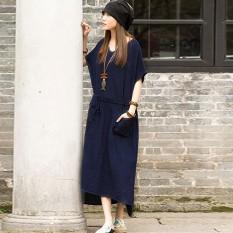 Toko Kasual Wanita Katun Linen Terbelah Asimetris Gaun Panjang Maxi Vestidos Ukuran S 5Xl Top Fashion Gaun Musim Panas Navy Di Hong Kong Sar Tiongkok