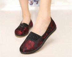 Toko Women Casual Floral Sepatu Loafers Ibu Kain Sepatu Flat Chinese Bordir Merah Intl Dekat Sini