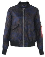 Kasual Wanita Longgar Klasik Zip Up Lengan Panjang Pendek Kamuflase Biker Pembom Jaket Blue-Intl