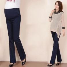 Kasual Wanita Hamil Pakaian Pant Adjustable Sabuk Maternitas Cotton Wide Leg Bell-bottomed Celana untuk Wanita Muslim Celana-Intl