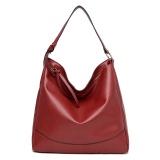 Kasual Wanita Kulit Pu Tote Tas Besar Kapasitas Shoulder Bag Merah Intl Oem Diskon 30