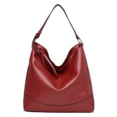Jual Beli Kasual Wanita Kulit Pu Tote Tas Besar Kapasitas Shoulder Bag Merah Intl Baru Tiongkok