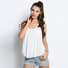 Kasual Wanita Seksi Bilayer Semi Sheer Sleeveless Chiffon LOOSE Patchwork Tank Tops-Intl