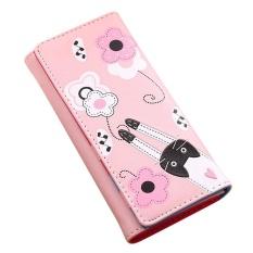 Wanita Cat Bunga Pola Pengait Koin Dompet Panjang Wallet Peta Pemegang With A Handbag Pink Oem Diskon 30