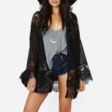 Promo Women Chiffon Kimono Cardigan Floral Lace Boho Loose Outerwear Beachwear Cover Up Blouse Tops Black Intl Not Specified