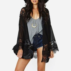 Toko Women Chiffon Kimono Cardigan Floral Lace Boho Loose Outerwear Beachwear Cover Up Blouse Tops Black Intl Online