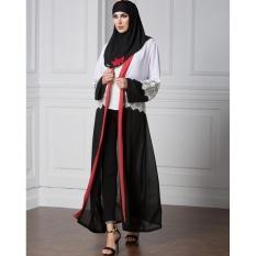 Jual Wanita Chiffon Muslim Abaya Cardigan Renda Lengan Panjang Buka Depan Robe Belted Kaftan Islamic Arab Maxi Dress Black Intl