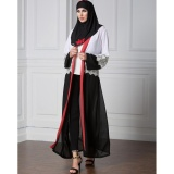 Jual Wanita Chiffon Muslim Abaya Cardigan Renda Lengan Panjang Buka Depan Robe Belted Kaftan Islamic Arab Maxi Dress Black Intl Import