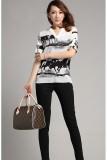 Spesifikasi Kemeja Sifon Wanita Retro Baju Cetak Putih Hitam Lengkap