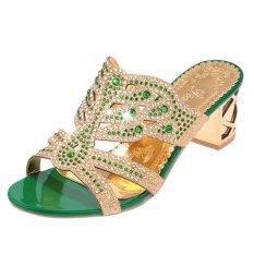 Wanita Chunky Tumit Flip Jepit Musim Panas Sepatu Shinning Manis Sandal Sepatu Kasual Sepatu Kerja-
