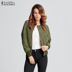 Wanita Mantel Panjang Jaket Bomber Mantel Musim Dingin Kerah Berdiri Kasual Pilot Manset Rajutan Rusuk Lengan Pakaian Plus Ukuran (hijau Tentara) -Internasional