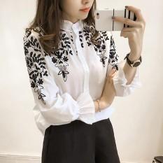 Wanita Blus Katun Shirt Bordir Bunga Lengan Panjang Kemeja Wanita (Putih)-Intl