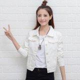 Jual Perempuan Denim Jaket Lengan Panjang Pendek Jeans Jaket Wanita Denim Mantel Putih Intl Oem Branded