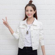 Beli Perempuan Denim Jaket Lengan Panjang Pendek Jeans Jaket Wanita Denim Mantel Putih Intl Kredit Tiongkok
