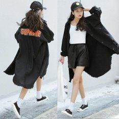 Harga Wanita Denim Mantel Panjang Berjumbai Cardigan Bf Style Loose Denim Jaket Korea Huruf Patch Panjang Pakaian Luar Intl Termurah