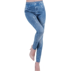 Spek Wanita Denim Jeans Legging Terlihat Robek Imitasi Oem