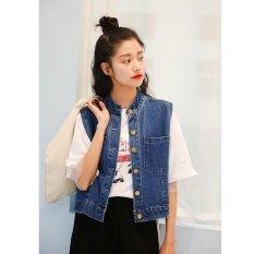 Review Women Denim Vest Female Waistcoat Sleeveless Jacket Student Short Coat Student Cowboy Coat Wraps College Palliate Wind Coats Fashional Outer Wear Intl