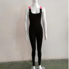 Wanita Elastis Tak Berlengan Yoga Menjalankan Kebugaran Sport Jumpsuitrompers Ketat Bodysuit Modis Pembalut Tipis Elastisitas Combinaisonf-Internasional