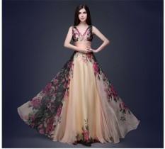 Wanita Elegan Sifon Bunga Prom Gaun Panjang Besar Gaun Malam-Internasional