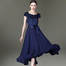 Harga Wanita Elegant Silk Besar Ayunan Slim Gaun Tunik Floral Printing Lengan Pendek Plus Ukuran Lady Dress Intl Termurah