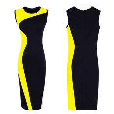 Harga Wanita Elegan Vintage Geometri Desain Leher O Tanpa Lengan Stretchy Bodycon Pesta Malam Gaun Tipis Kuning Branded