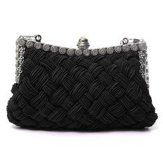 Harga Women Elegant Weaved Rhinestone Satin Party Wedding Clutch Bag Black Original