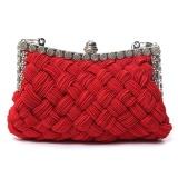 Review Terbaik Wanita Elegan Menenun Rhinestone Satin Pesta Pernikahan Clutch Bag Merah