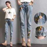 Beli Wanita Bersulam Banded Sembilan Celana Elastis Pinggang Wanita Berjumbai Skinny Jeans Korea Fashion Street Menyanjung Celana Santai Intl Oem Dengan Harga Terjangkau