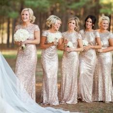 Wanita Eropa Panjang Kelap-kelip Pernikahan Pengiring Pengantin Gaun Wanita Pesta Malam Keemasan Backless Maxi Dress Gaun (Emas)-Intl