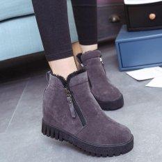 Wanita Fashion Ankle Boots Flats Casual Sepatu Hangat Suede Sepatu Terbaru