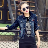 Harga Wanita Fashion Biru Bordir Lengan Panjang Denim Jacket Autumn Jeans Mantel Intl