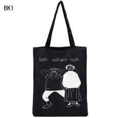 Jual Wanita Fashion Canvas Shopping Handbag Perjalanan Casing Bahu Tote Besar Kapasitas Hitam Lookwahklook Branded Original