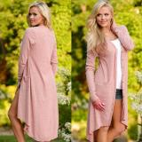 Jual Women Fashion Casual V Neck Long Sleeve Solid Asymmetric Hem Long Cardigan Outwear Intl Import