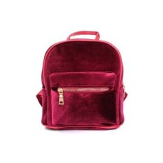 Wanita Fashion Cute Ransel Laptop Beludru A Kasual Retro Backapck Solid Flanel Girls Mochila Ritsleting Kecil Tas Merah-Intl