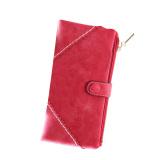 Ulasan Fashion Wanita Dompet Panjang Kulit Dengan Tombol Kopling Tas Merah