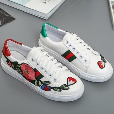 Review Women Fashion Low Top Sneakers Casual Embroidery Skateboard Shoes Women Small White Shoes Intl Di Tiongkok
