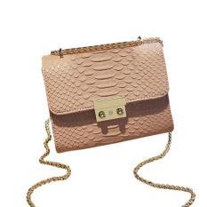 Wanita Fashion Mini Messenger Laptop Shoulder Bag Candy Rantai Warna Pink-Intl