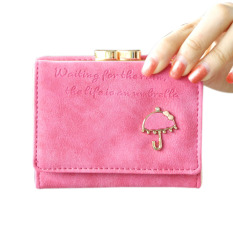 Jual Women Fashion Pu Leather Short Wallet With Button Purse Clutch Rose Red Intl Branded