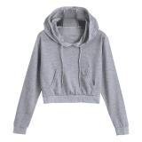 Toko Women Fashion Short Plain Drawstring Front Pocket Crop Hoodie Grey Intl Terdekat