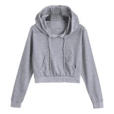 Diskon Women Fashion Short Plain Drawstring Front Pocket Crop Hoodie Grey Intl Not Specified Tiongkok
