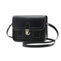 Women Fashion Shoulder Bag Square Vintage PU Leather Solid Color Handbag Satchel Color:Black
