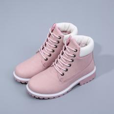 Wanita Fashion Salju Sepatu Bot Musim Dingin Hangat Anti-Skip Sepatu Bot Martin (Merah Muda)