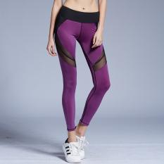Toko Wanita Legging Fashion Mesh Splicing Yoga Celana Elastisitas Bernapas Kebugaran Ketat Sports Pants Ungu Termurah Tiongkok