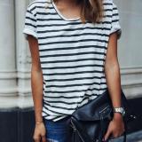 Penawaran Istimewa Wanita Fashion Striped Lengan Pendek Kasual Longgar T Shirt Blus Atasan Kaos Multi Intl Terbaru