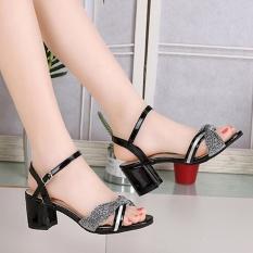 Harga Wanita Fashion Musim Panas Mid Heel Flip Flop Sandal Loafers Sepatu Bohemia Satu Set