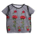 Jual Wanita Fashion Tops Rose Bunga Bordir Bersih Bentuk Lengan Pendek T Shirt S Intl Vakind